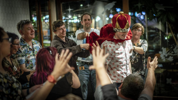 Performers in WIT improv show Micetro as the winner is crowned