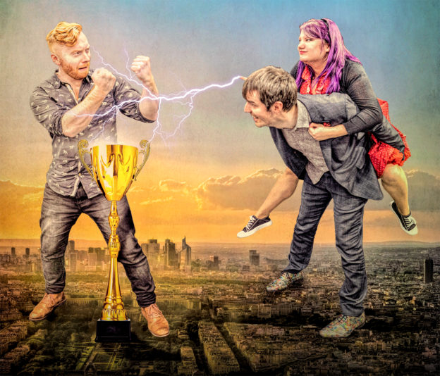 Improvisors trampling the tiny city of Paris to win a giant prize cup