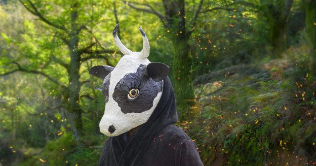 a papier mache cow