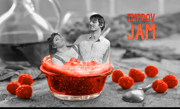 "Two improvisors in a bowl of jam, with the text ""Improv Jam"""